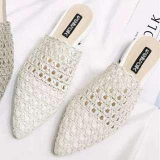 Plastic woven white shoes