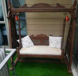 Wooden sofa swing, made in Pakistan, with brass inlays