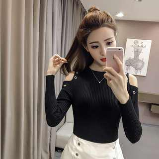* Ready Stock * Black Knit Cut Out Shoulder Long Sleeve Top
