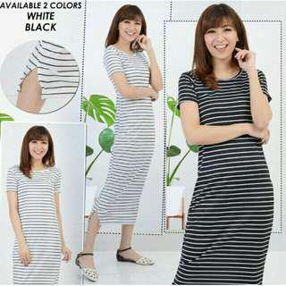 Long Maxi Dress Anisa Salur Hitam Putih Panjang Wanita Cewek Murah Bagus