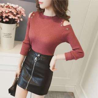 * Ready Stock * Dusty Red Knit Cut Out Shoulder Long Sleeve Top
