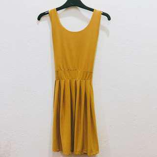 * Ready Stock * Mustard Yellow V Neck Dress
