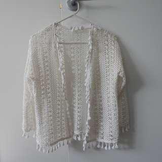 Women's Cream Crochet Cotton Cardigan Festival Wear Size 8