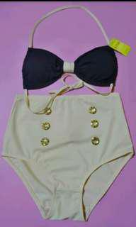 Bikini Set model Retro warna navy blue and broken white all size