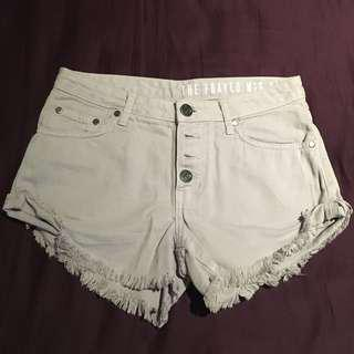 Light Lilac Frayed Shorts