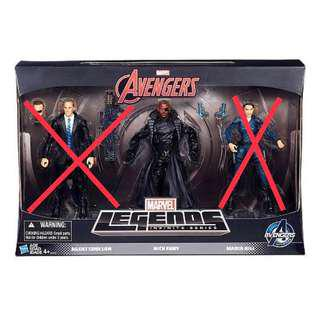 TRU Exclusive Marvel Legends Infinite Series Avengers Agents Of Shield 3-Pack Nick Fury (Infinity War Thanos BAF Select)