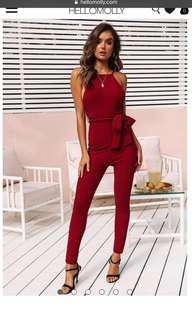 Wine red jumpsuit backless size 6