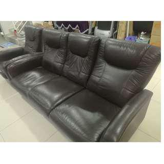 SOFA HALF LEATHER RECLINER 1 + 3