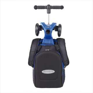 MICRO Maxi 4 in 1 in blue/black with the 4 in 1 t bar and rucksack / MICRO helmet – shiny silver