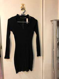 black ribbed choker dress
