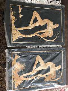 Nude woman bamboo art