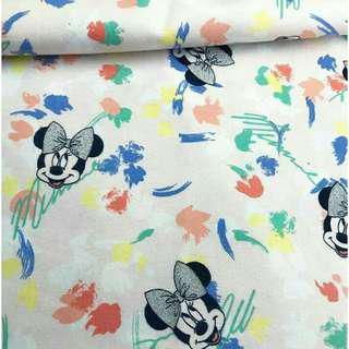 Cotton Stretch Fabric Tela Disney Minnie Mouse