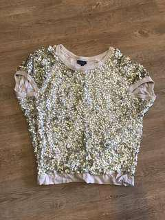 Topshop sequin embroidery loose top