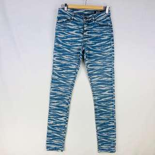 Res Denim Kitty Skinny Womens Jeans Size 26 (8) Blue Printed Pattern