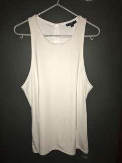 Topshop Racerback White Top with Zipper US10