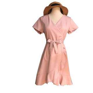 🚚 Blush Pink Flutter Sash Dress
