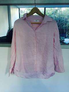 Uniqlo pink linen shirt