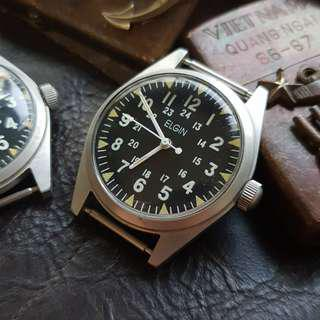 (preowned) ELGIN 34mm vintage military Vietnam watch