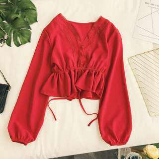 Fiona V Neck Puff Sleeve Blouse