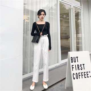 Black/White Paperbag Trousers
