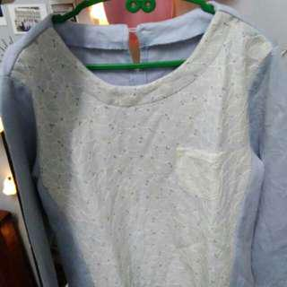 Cotton Shirt longsleeve tops with lace