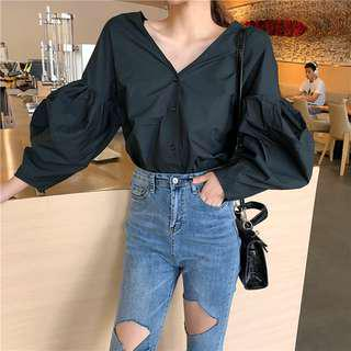 Bloom V Neck Puff Sleeve Blouse
