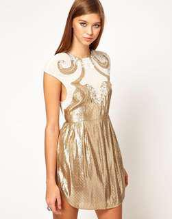 Alice McCall Gold Lurex White Chiffon Dress, AU6