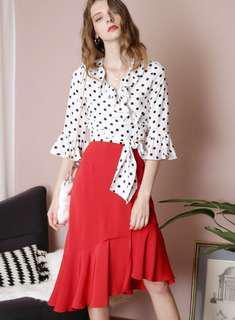 Andwelldressed white polka dot top brand new