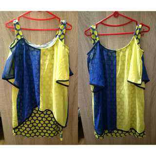 New Zone polkadot top in yellow - blue