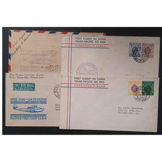 香港 1937年 跨太平洋 香港至三藩市 首航封全套四杖