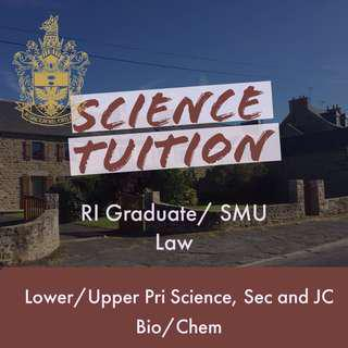 (Tuition by RI Grad/Law SMU) Primary Science/Secondary or JC Biology/Chemistry