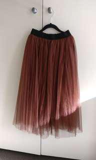 Tulle Dusty Pink Midi Skirt | Size 8 S