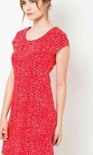 Dress merah bintik putih