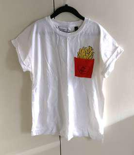 Topshop embroidered Pocket Tee | Fries before guys 🍟