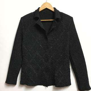 Pleated Black Shirt Cardigan