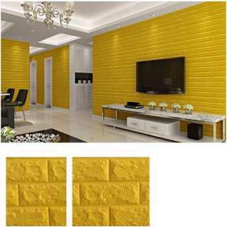 Foam Brick yellow Peel & Stick 3D Cushioni Wall Panels