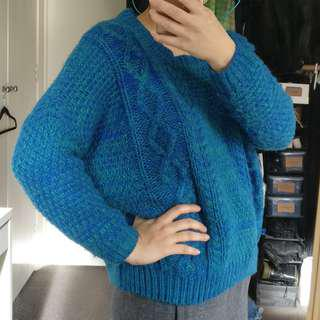 Blue baggy chunky knit jumper | Size XS