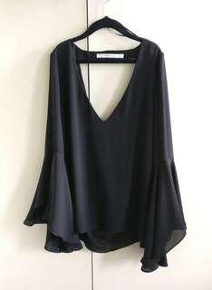 ZARA ruffled sleeve black top | XS