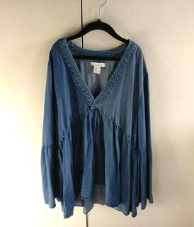 Denim boho bell sleeve top | h&m XS