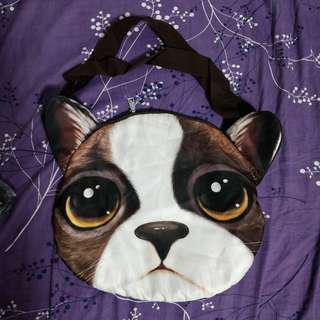 Cute dog face messenger bag