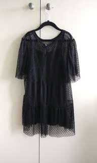 Black ruffled mesh tieredesh top size XS 6
