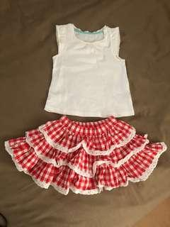 Mothercare Set Top and Ruffle Skirt