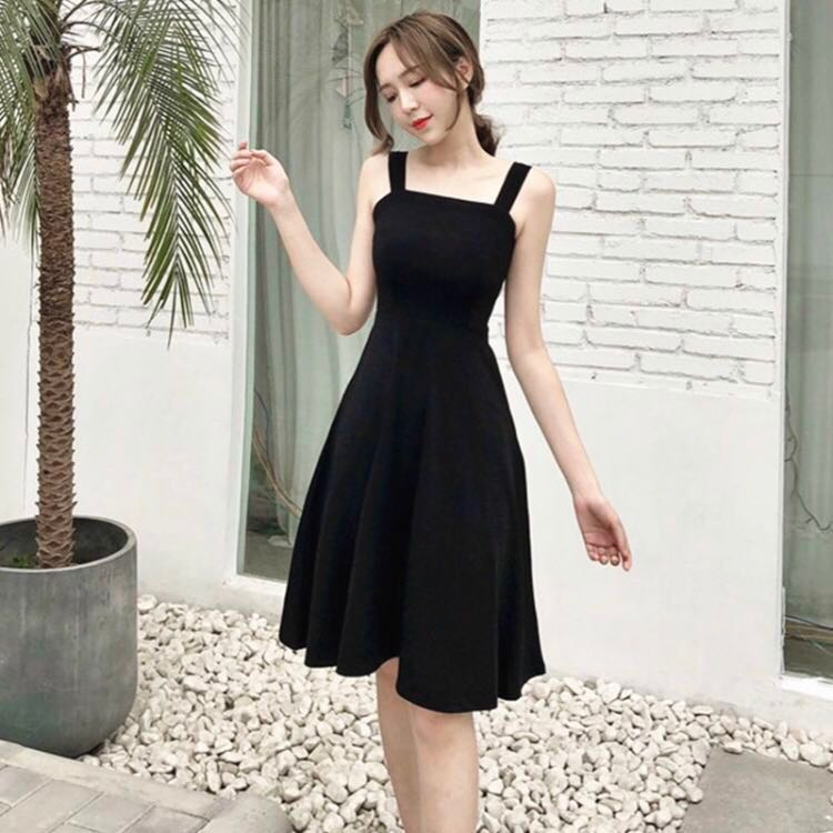851cd450e98d Black Thick Strap Midi Dress