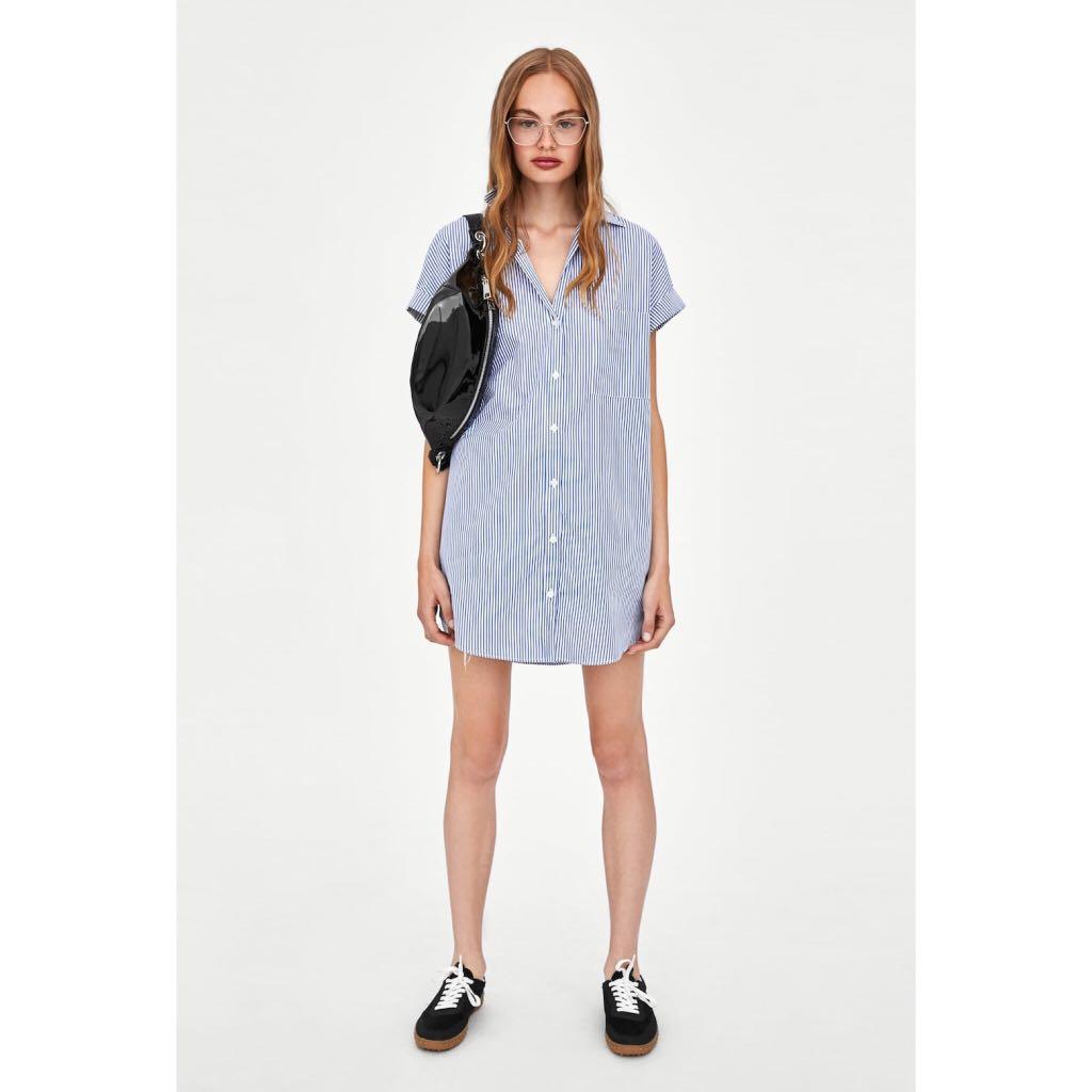 e9ab463b57 BN) 💯 Authentic Zara Trf Blue Red Striped Shirt Dress size S ...