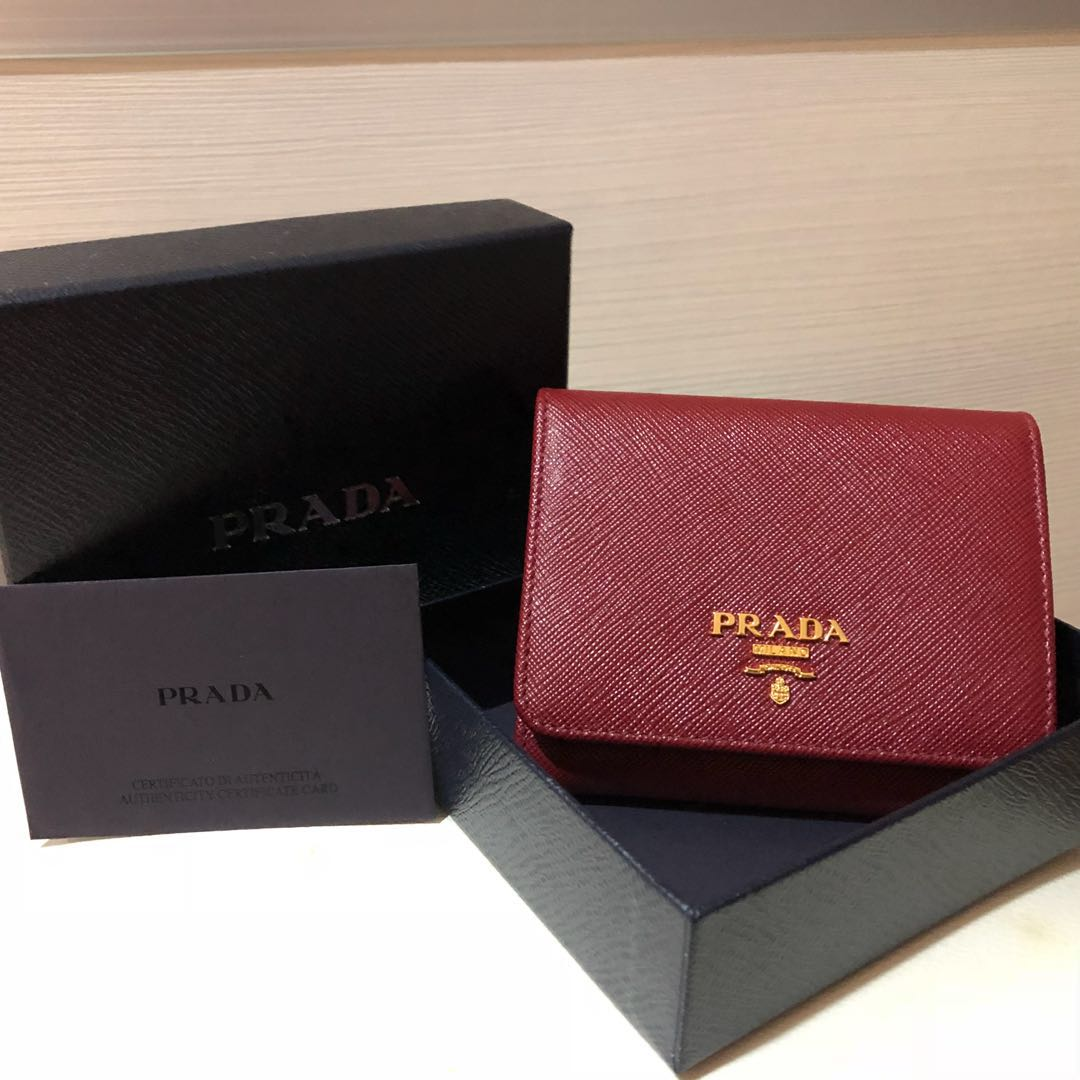 bdca8d3e0c11 ... coupon for brand new prada saffiano leather short trifold clasp wallet  in cerise colour luxury bags