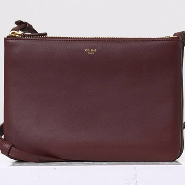 3900c925710 Celine Trio Bag - Burgundy, Luxury, Bags   Wallets on Carousell