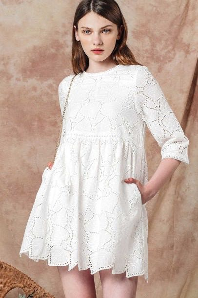 f892d9dbdc FM AMOR EYELET PLAYSUIT DRESS (WHITE)