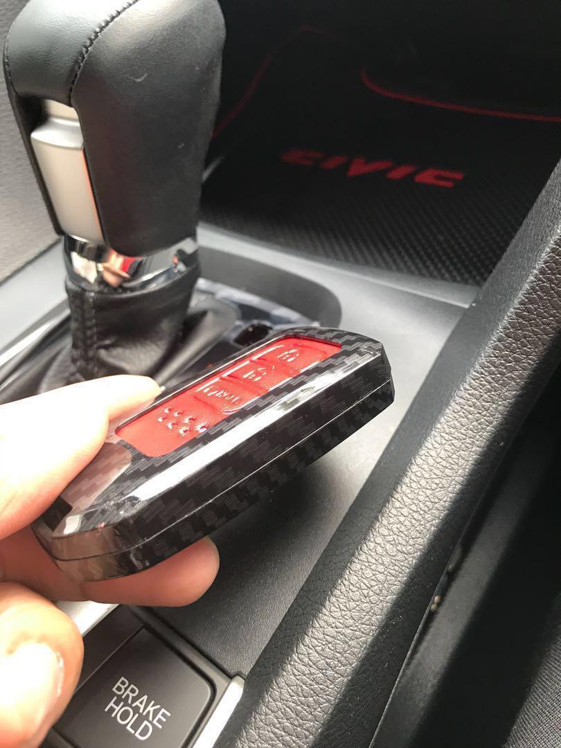 Free postage Civic (PI) Carbon Fiber Leather car remote key