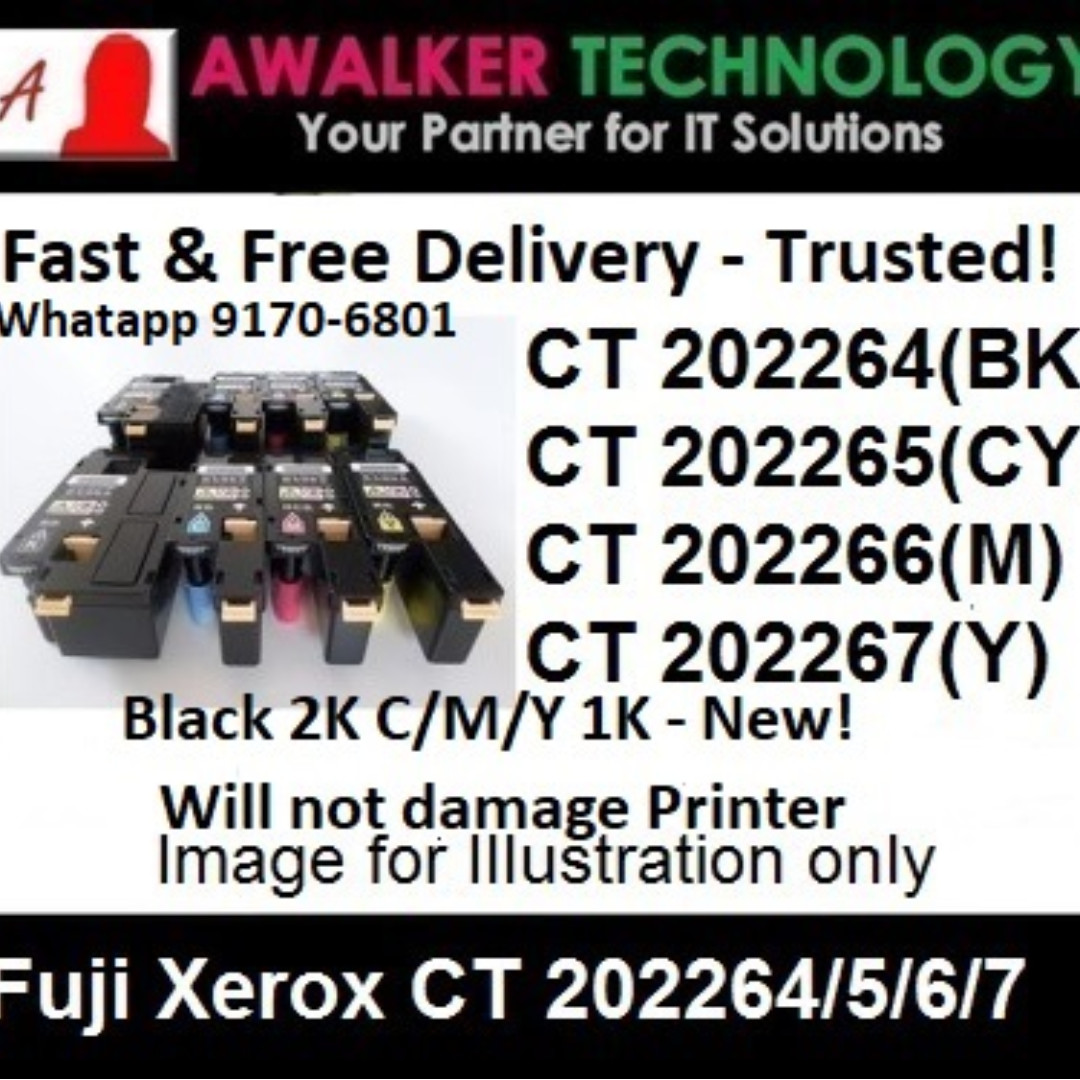 Fuji Xerox CT220264 Black CT202264 Cyan CT202266 Magenta CT202267 Yellow  Color Compatible Laser Toner Cartridges 2000 Pages Remaufactured Printer