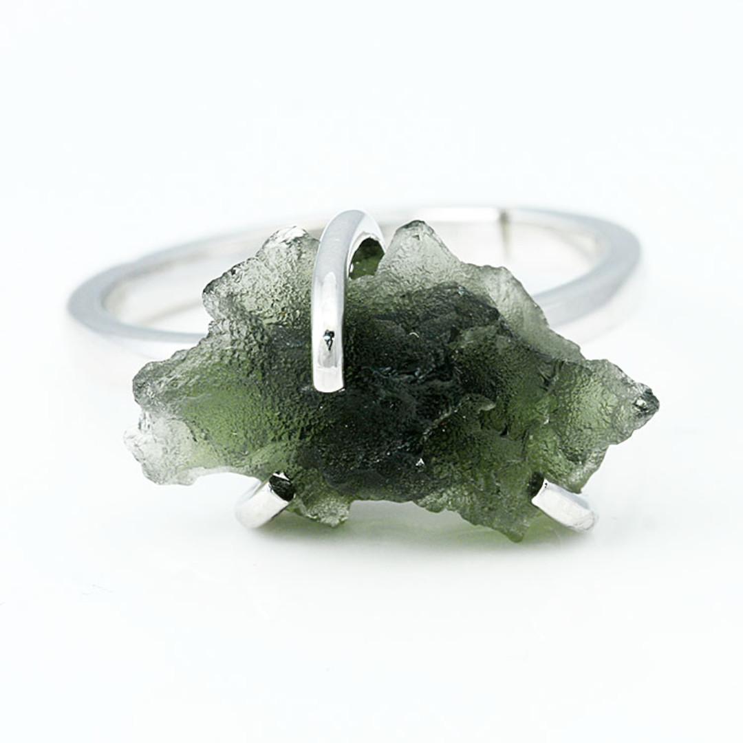Genuine Moldavite Rough Specimen Sterling Silver Ring Free Size R046c  3 6grams